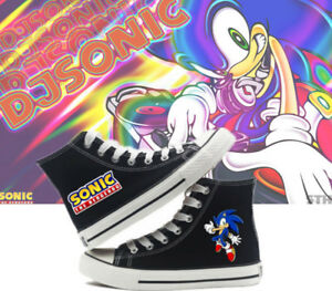 Anime Sonic the Hedgehog Cosplay Canvas Unisex Black Sneakers Casual Shoes