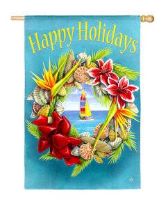 HAPPY-HOLIDAYS-Tropical-Christmas-Wreath-12-5-034-x18-034-Small-Decorative-Banner-Flag