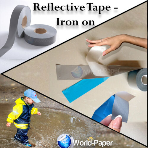 """IRON ON Reflective Tape Light Weight Silver Reflective Fabric 1/"""" x 16 ft :"""
