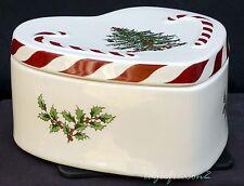 SPODE CHRISTMAS TREE PEPPERMINT LIDDED HEART BOX - candy box trinket box
