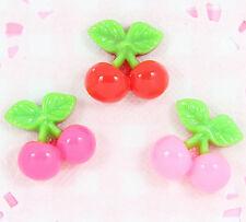 6 x Cute Cherry Cherries Flatback Cabochon Embellishments Decoden Kawaii