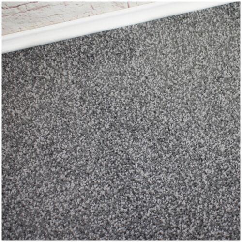 PREMIUM 10mm Thick Dark Silver Action Back Twist Pile 4m Wide Carpet Remnant
