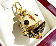 ONE OF A KIND SOLID STERLING SILVER 925 & 24K GOLD EGG PENDANT SAILING SHIP