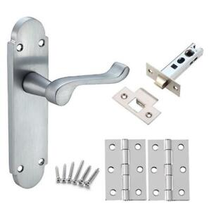 Internal Door Handles in Satin chrome (Packs) Latch or Lock or ...