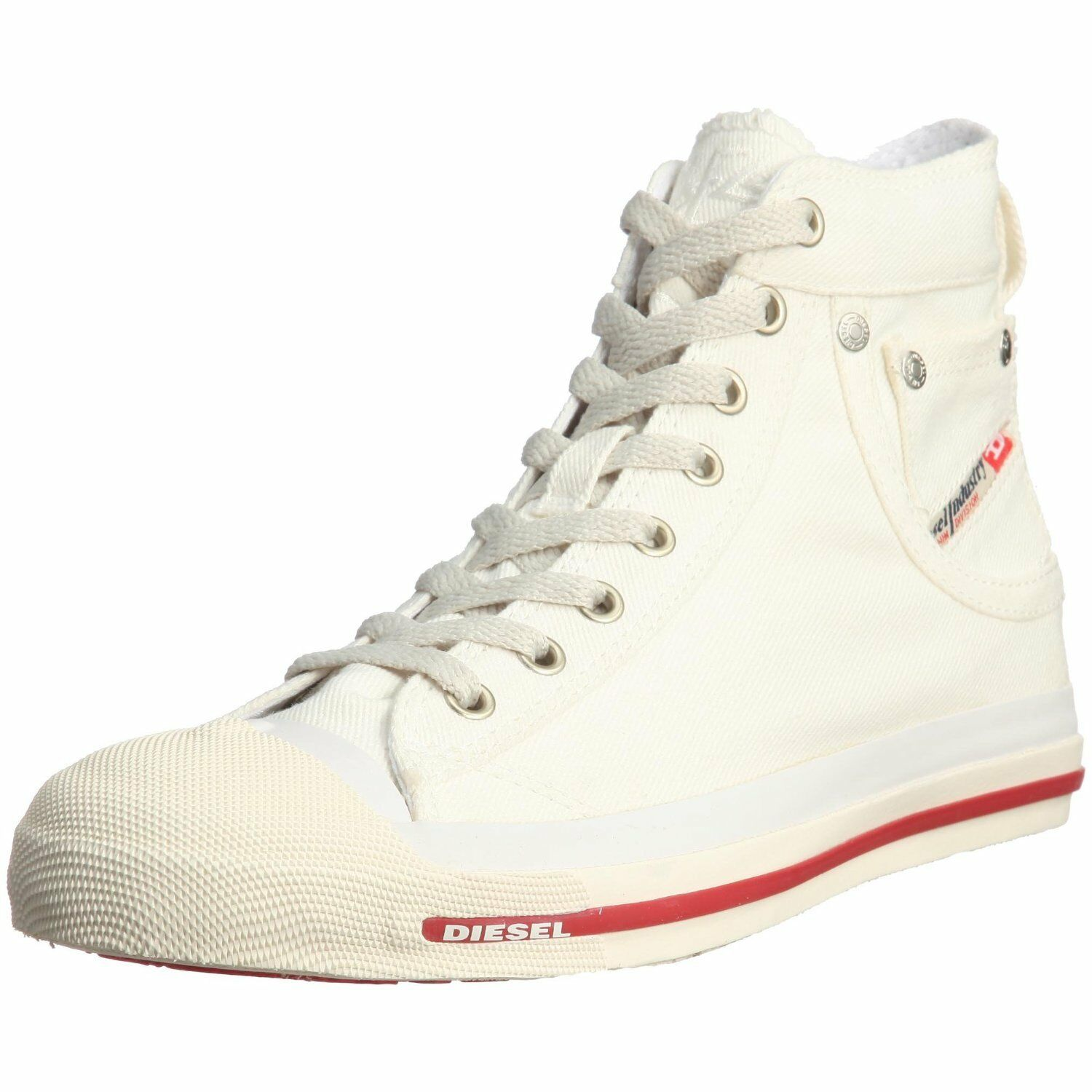 Diesel Exposure Hi Off White Red Womens Canvas New Trainers Shoes Boots