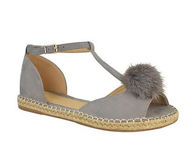 Damen Peeptoe Pom T- Schnalle Flache Espadrilles Sommer Sandalen Schuhe Größe