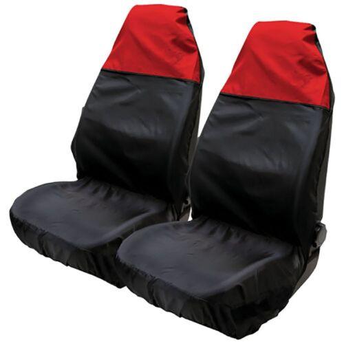 2x Universal Waterproof Front Seat Covers Red Black Car Van Pair Protectors