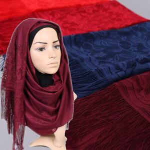 Tassel-Scarf-Plain-Floral-Lace-Scarf-Polyester-Women-Scarves-Wraps-Muslim-Hijab