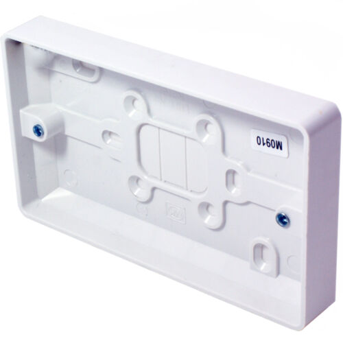 5x 32mm Deep Twin Plastic Surface Mounted Back Box 2 Gang Wall Pattress Outlet
