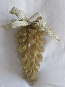 Mackenzie-Childs-PARCHMENT-CHECK-Upscale-Mesh-PINECONE-ORNAMENT-w-Bow-Lg-mc14-j