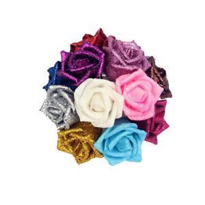 5X-set-Colourful-Full-Glitter-Roses-Flowers-Bride-Bouquet-Home-Wedding-Decor-RT