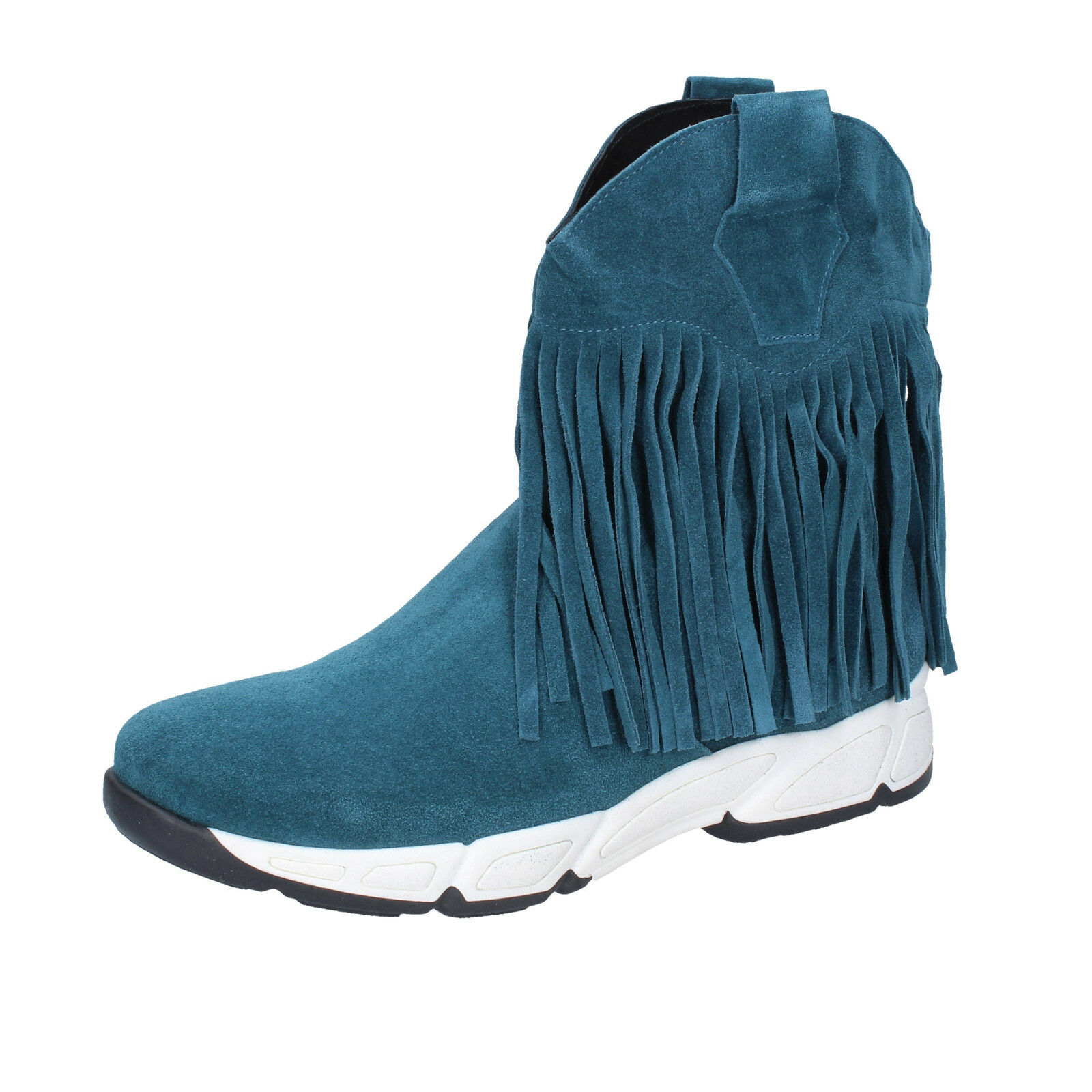Damen schuhe OLGA RUBINI 37 EU ankle boots grün wildleder BX783-37