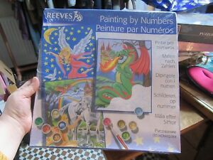 Details Zu Reeves Large Paint By Numbers Fairy Tales Unicorn Fairy Dragon Set Of 3