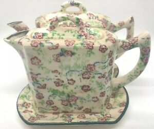 Vintage-Floral-Chintz-Creamer-amp-Teapot-With-Tray-Porcelain-3-Piece-With-Lids