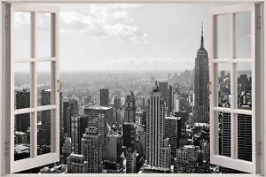 cheap 3d window view new york city wall sticker mural film decal