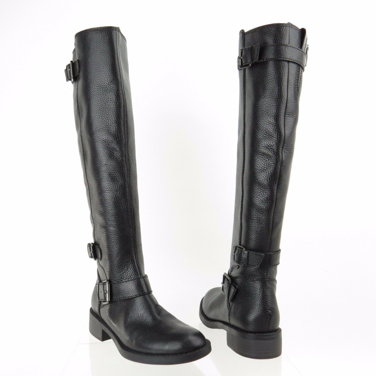 Women's Enzo Angiolini Sayin Shoes Black Leather Riding Boots Size 6 M RTL 200