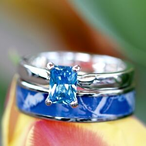 2pc Blue Camo Stainless Steel Band 925 Sterling Silver Sapphire Wedding Ring Set