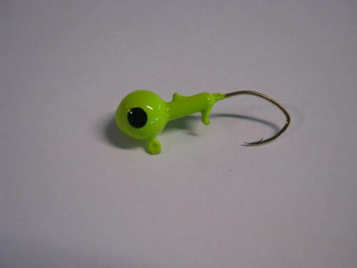 Garrett Outdoors double barbed jig heads green ch 50 count staggered