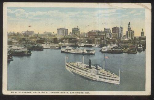 POSTCARD BALTIMORE MDMARYLAND EXCURSION BOATS LOUISE & WESTMORELAND 1910'S