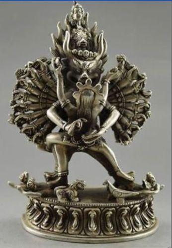 Collectible Old Handwork Tibet Silver Carved Yamantaka Buddha Statue