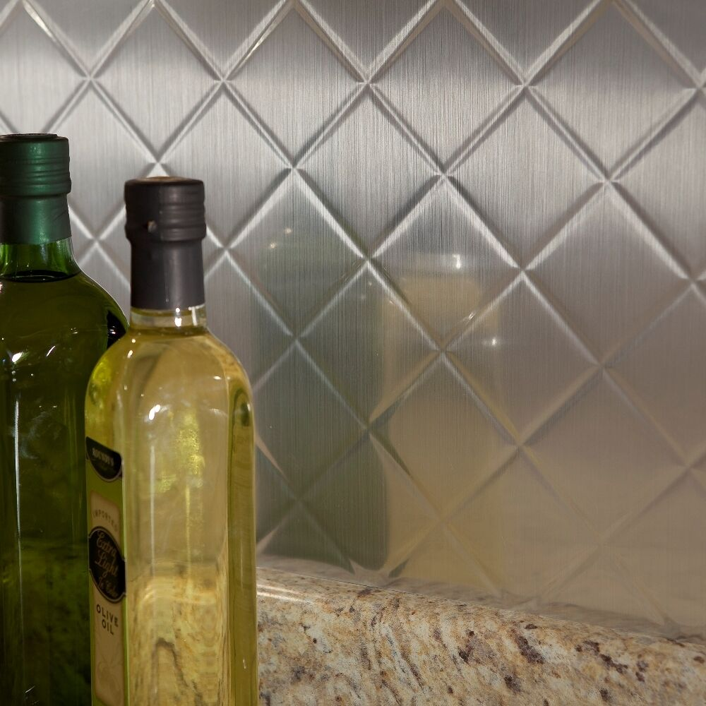 - Fasade Easy Installation Quilted Brushed Aluminum Backsplash Panel
