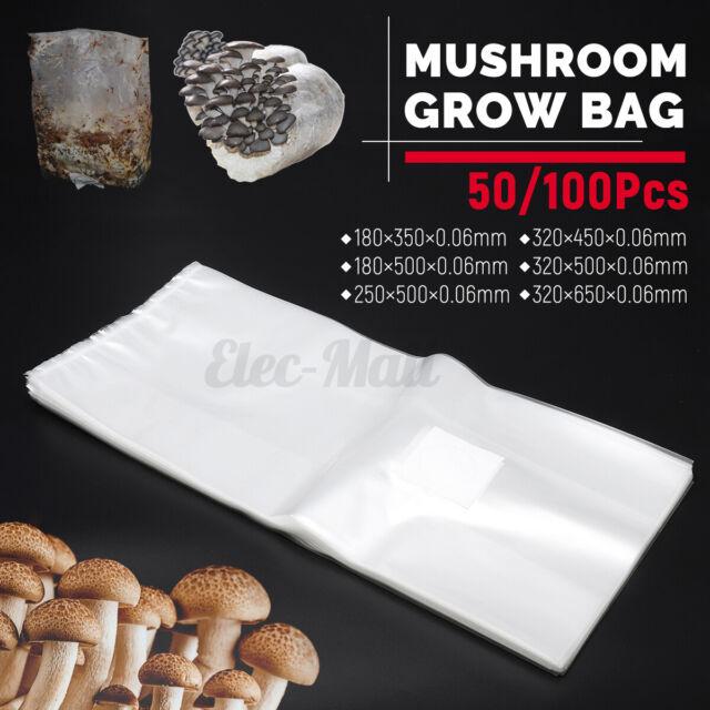 10//20//50 X PVC Mushroom Spawn Grow Bag Substrate High Temp Pre Sealable Supplies