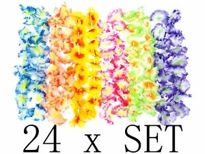 24-Hawaii-Hawaiian-Flower-Necklace-Ruffled-Simulated-Silk-Hula-Beach-Party-Leis