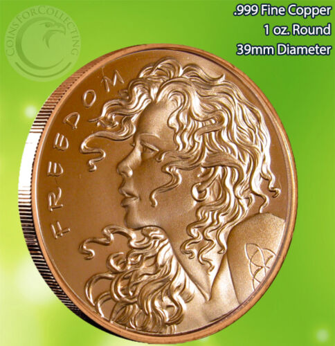 """/""""2013 Freedom Girl/"""" Copper Round 1 oz .999 Very Limited and Rare Single Sided"""