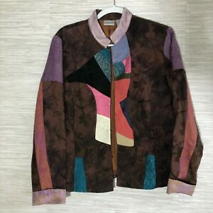 US Size 12Large Long Tapestry Jacket Brown Red Black Applique Coat Chico/'s Size 2
