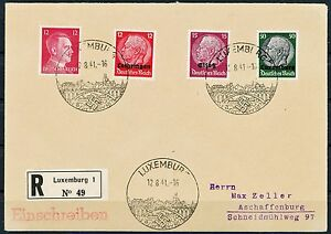 Luxembourg Occupation Allemande Inscrit Housse Datée Du 12.8 1941 To Aschaffenburg Prix ModéRé