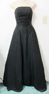 RIVA-0-Black-Evening-Gown-Formal-Dress-Pageant-Beaded-Petticoat-Strapless