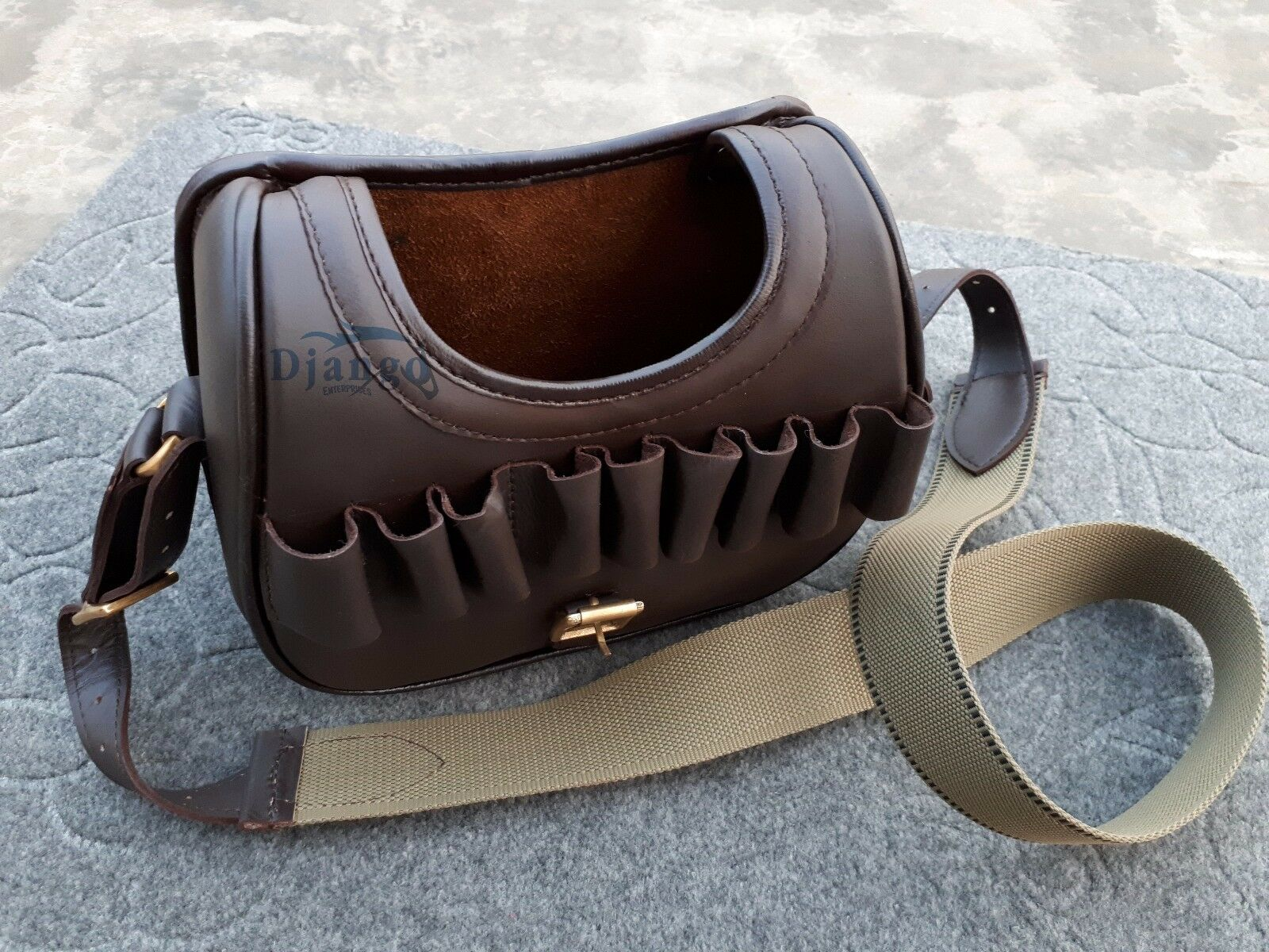 Real Cow Hide Leather Shotgun 120 Cartridges Holder Speed Bag Ammo Carrier