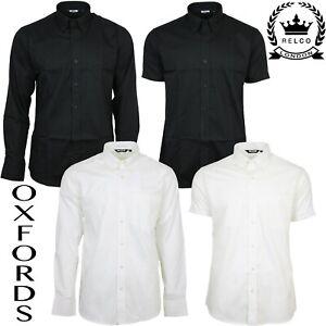 Relco-Mens-Oxford-Black-White-Button-Down-Collar-Short-amp-Long-Sleeve-Shirt