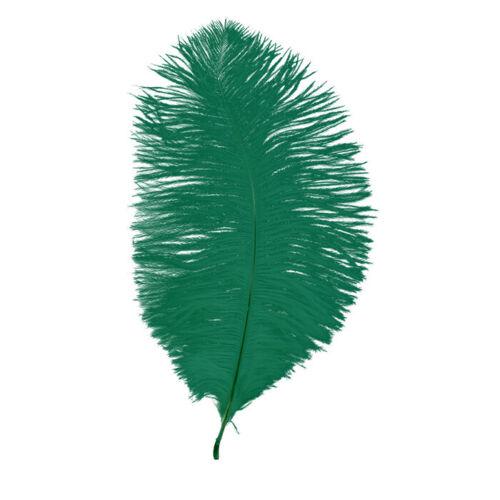 """OSTRICH FEATHERS FIRST GRADE 5 EMERALD GREEN SOFT FLOSS 9-10/"""" 22-25 CM"""