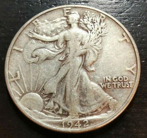 1942 50c Liberty Walking Half Dollar 90/% Silver Circulated