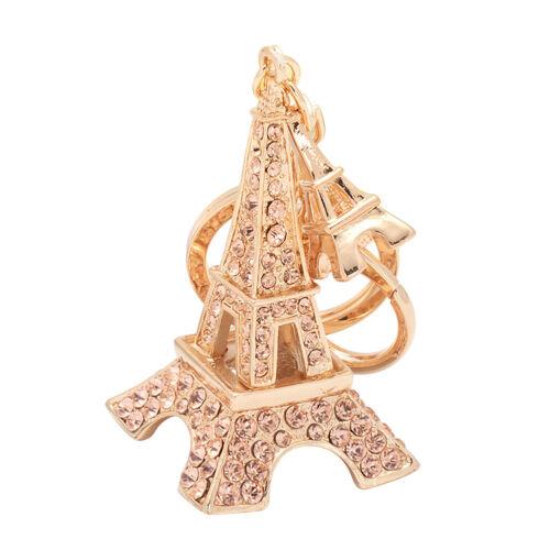 LK/_ Fashion Rhinestones Double Eiffel Tower Key Chain Handbag Hanging Keyring
