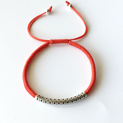 925 Sterling Thai Silver Lucky Rouge Corde Amitié Bracelet Handmade Bracelet