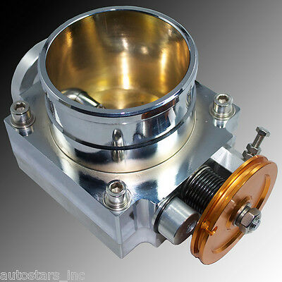 POLISHED 80MM THROTTLE BODY INTAKE MANIFOLD BILLET ALUMINUM HIGH FLOW