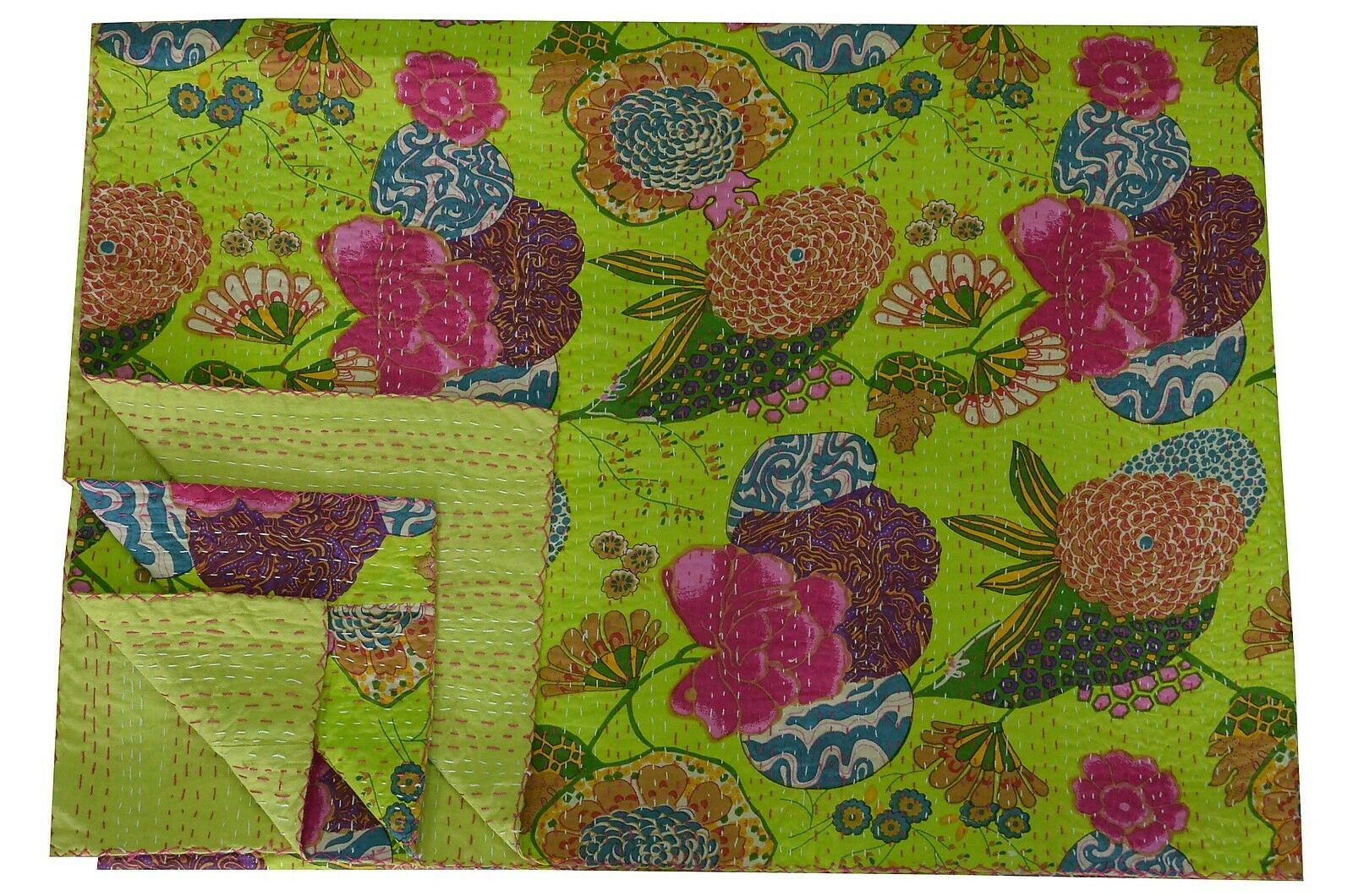 Queen Kantha Quilt Floral Print Reversible Gudari Parred Green Bedding Bedspread