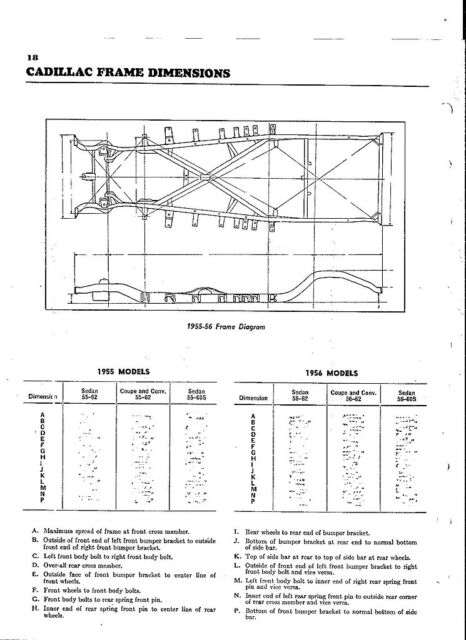 1955 Cadillac Series 62 60s Nos Frame Dimensions Wheel Alignment