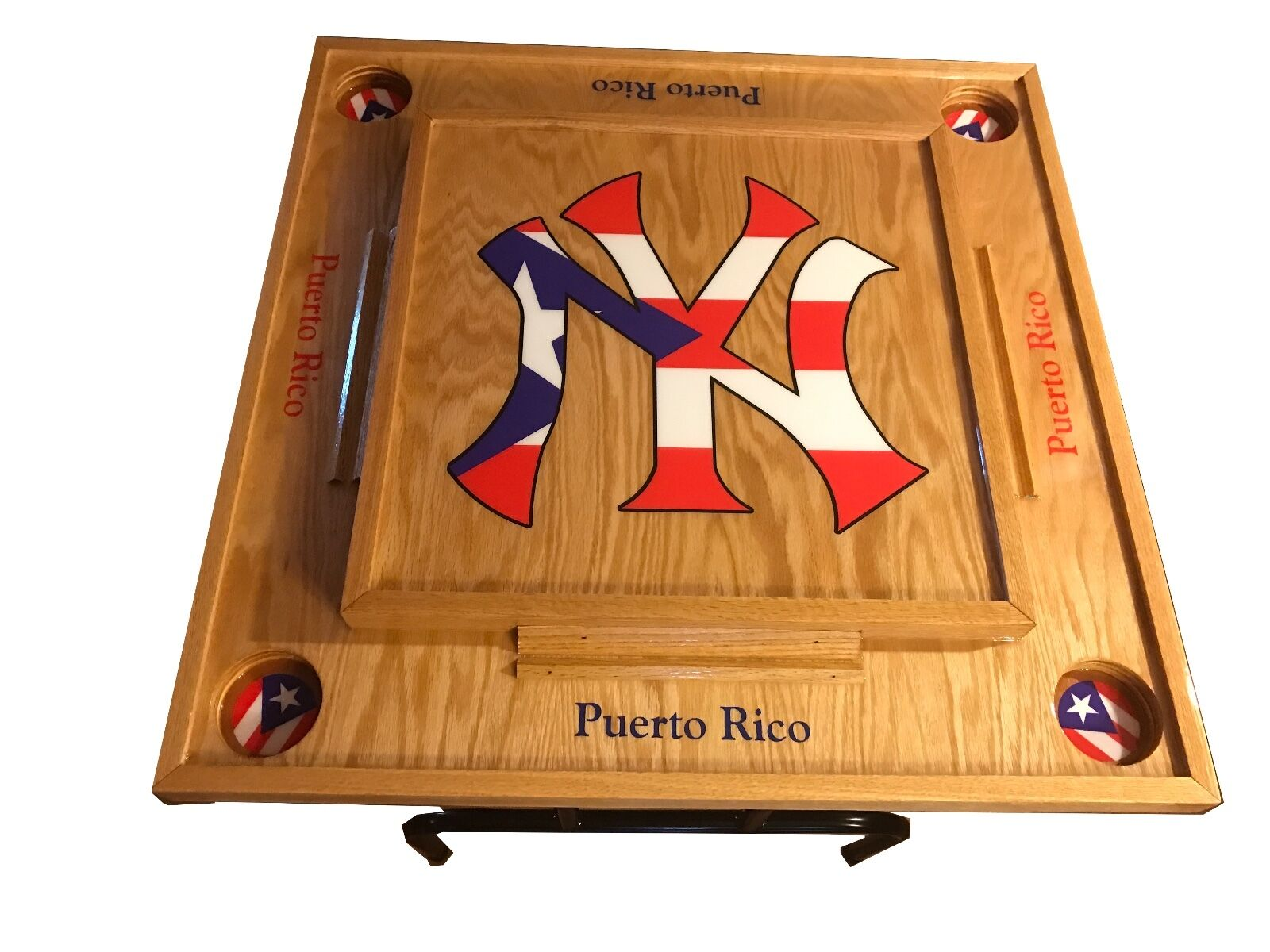 New York Yankee Domino Table Table Table with Puerto Rico Flag e9d46b