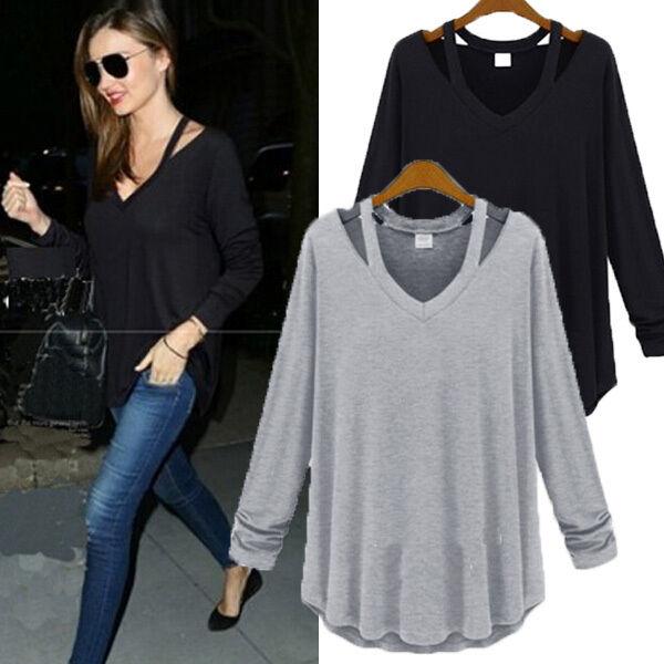 UK 8-22 Women V Neck Oversize Shirt Off Shoulder Loose Baggy Tops Blouse T-Shirt