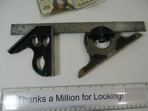 """LUFKIN No. # 2504R x 12"""" Combination Square Head, Protractor, 12"""" Blade Scale GC"""