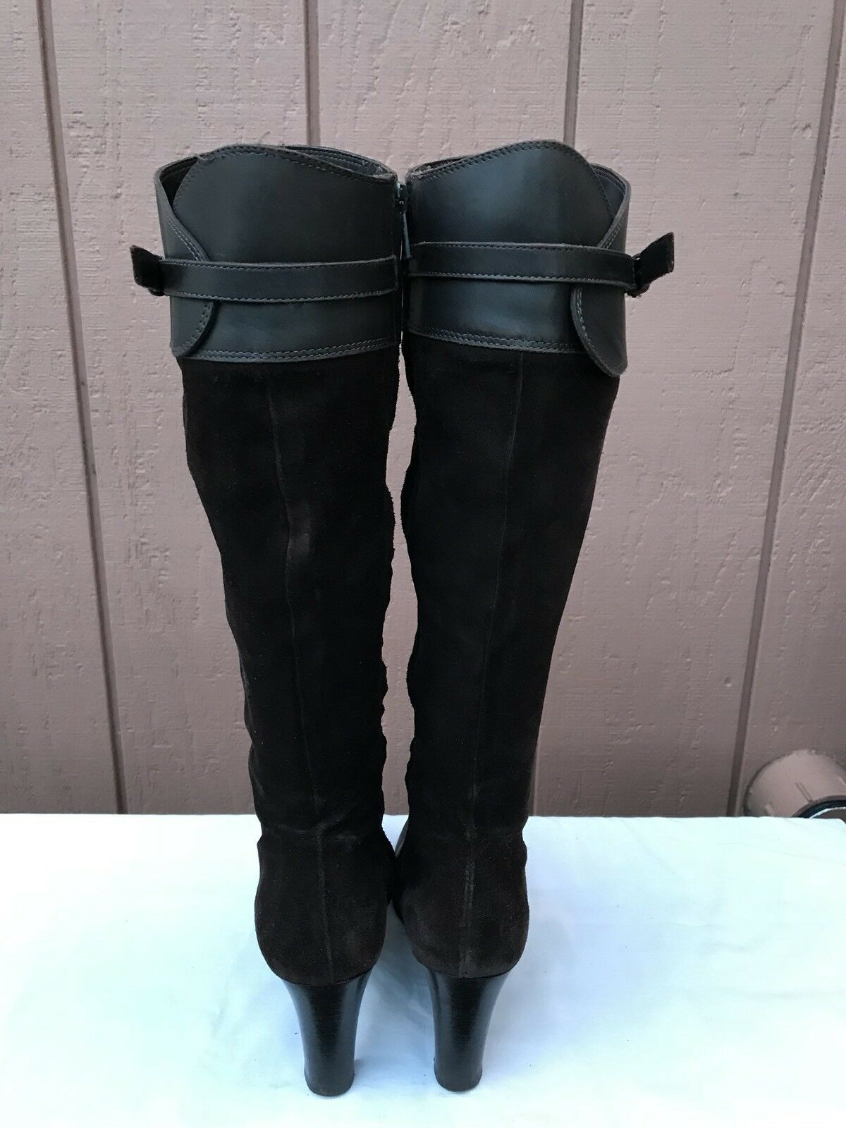 J.Crew Boots Brown Suede and Leather Knee High Heel Fashion Boots J.Crew Size US 6.5 ITALY 10aece