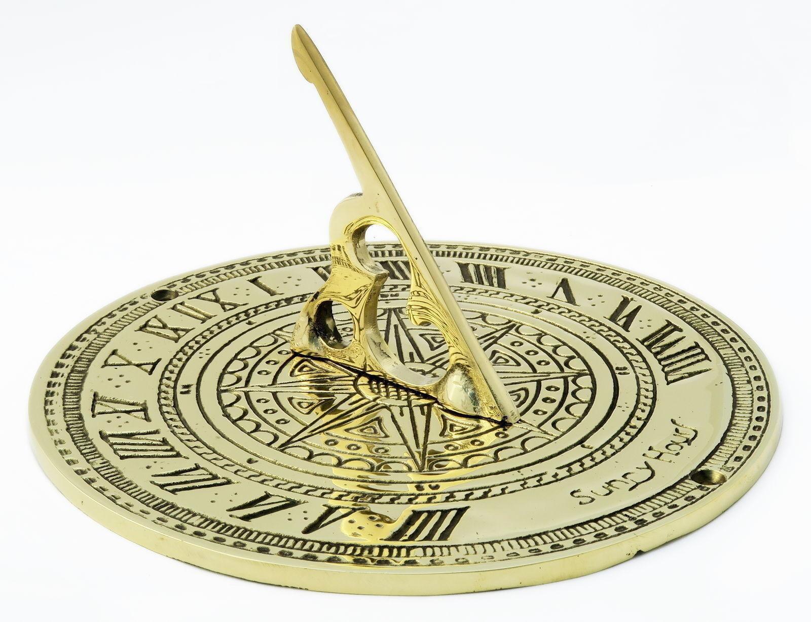 Solid Brass Sundial – antique ornamental circular Sunny Hours sun dial 18cm   7