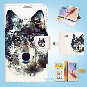 Samsung-Galaxy-S3-4-5-6-7-8-Edge-Plus-Note-Flip-Wallet-Case-Cover-Snow-Wolf-W088