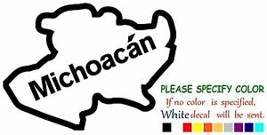 Michoacan State Map.Michoacan Mexico State Map Vinyl Decal Sticker Car Window Laptop