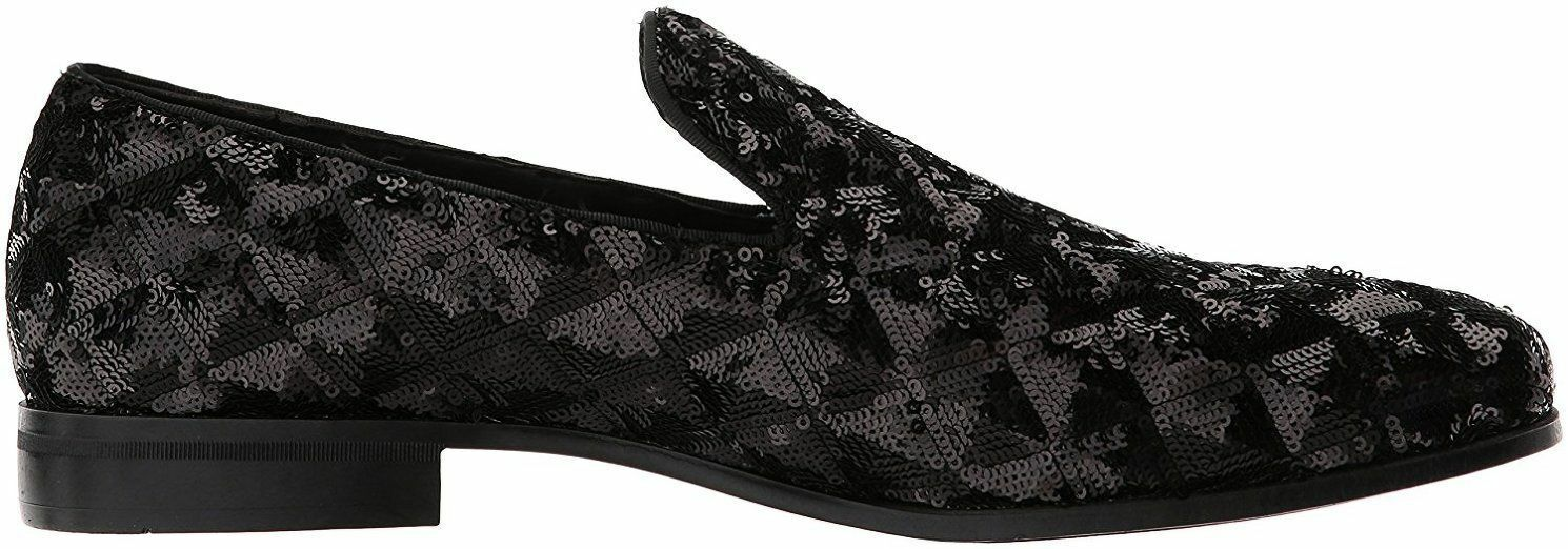 Stacy Adams Swank Black Shoes Geometric Geometric Shoes Sequins Loafer Prom dance 25229-001 6ff612