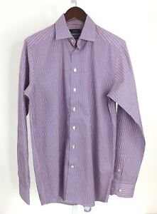 Eton-Mens-15-1-2-39-Contemporary-Fit-Oxford-Blue-Red-White-Striped-Shirt-T-38