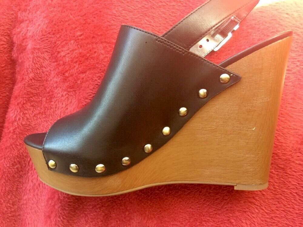 NEW  Circus By Sam EdelmanHigh Wood Wedge Platform Leather shoes Sz 9 Open-Front